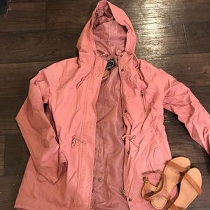 Blush hooded utility jacket